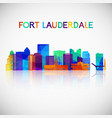Fort lauderdale skyline silhouette in colorful