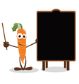 Funny Carrot Pointing a Blackboard vector image vector image