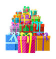 gifts or presents boxes pile vector image vector image