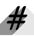 hashtag sign black icon with vector image vector image