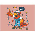 hipster parrot cartoon t shirt design vector image vector image
