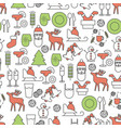 holiday christmas and new year line seamless vector image vector image