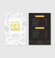 homemade pies menu template bakery and pastry vector image vector image