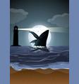 humpback whale in nature scene silhouette vector image