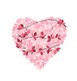 leaf with heart on white background vector image vector image