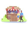 man and woman near japan food park cafe flat vector image