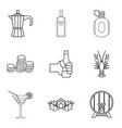 martini icons set outline style vector image