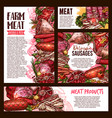 meat and sausage product banner template set vector image vector image