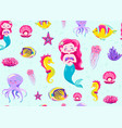 mermaid pattern seamless vector image