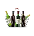 Metallic Shopping Basket With Wine Pictogram vector image vector image