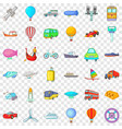 moving transport icons set cartoon style vector image vector image