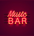 neon music bar signboard on the red background vector image vector image