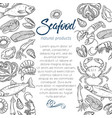 page template hand drawn seafood vector image vector image