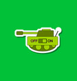 paper sticker on stylish background kids toy tank vector image