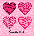 Pink Animal print hearts vector image