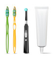plastic and electric toothbrush toothpaste tube vector image