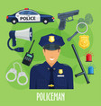 poster of policeman occupation items vector image vector image