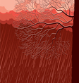 raining nature landscape with tree in evening back vector image