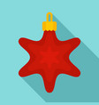 red star xmas toy icon flat style vector image vector image