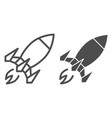 rocket line and glyph icon spaceship vector image