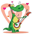 Romantic Guitarist Dinosaur Singing vector image