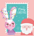 santa and rabbit with lights merry christmas stamp vector image vector image