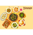 Seafood dishes with salads icon for menu design vector image vector image