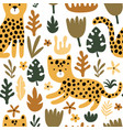 seamless pattern with cheetah and leaves vector image vector image