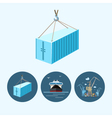Set icons with container dry cargo ship crane vector image vector image