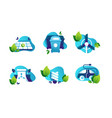 set icons with safe planet solar panels energy vector image
