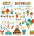 set of Happy Birthday objects vector image vector image