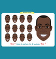 set of male facial emotions black american man vector image vector image