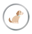 Sitting dog icon in cartoon style for web vector image vector image