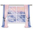 the window overlooking the sunrise in a snowy vector image vector image