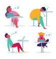 tired employee sleeping in office vector image