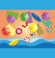 top view beach background with umbrellasballs vector image