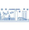 usa colorado denver winter city skyline merry vector image