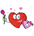 Valentine Heart Character Holding A Rose And Candy vector image