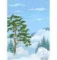Winter Christmas Landscape with Trees and Snow vector image vector image