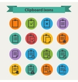 black Clipboard icons set in flat style vector image