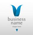 logo with a blue letter v vector image