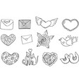 sticker set for valentine s day - coloring page vector image