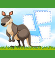 a kangaroo on blank template vector image vector image