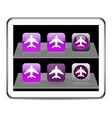 Aircraft purple app icons vector image vector image