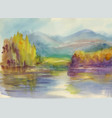 autumn forest with river watercolor vector image vector image