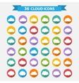 big set thirty-six white cloud shapes vector image vector image