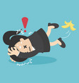 business woman slip on banana peel and falling vector image vector image