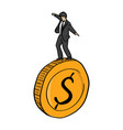 businessman standing on big golden coin vector image vector image