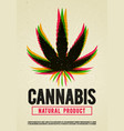 cannabis plant marijuana weed poster design vector image vector image
