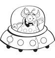 Cartoon alien in a spaceship vector image
